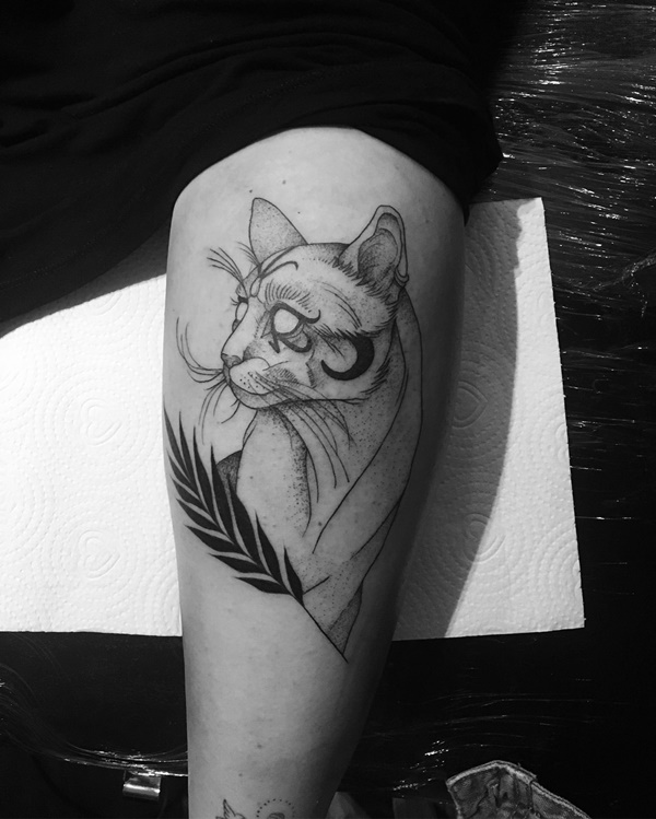Black and white Cat Portrait Tattoo for Cat Lovers