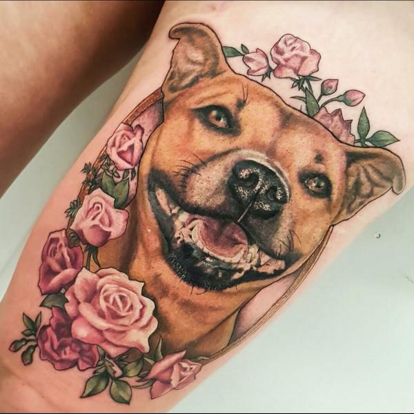 Dog & Flowers Memorial Tattoo