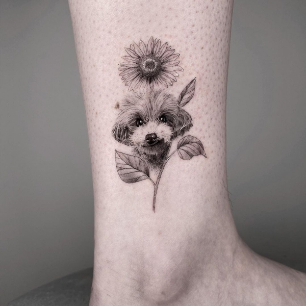 Floral Dog Portrait Memorial Tattoo